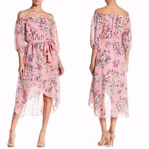 NEW MEGHAN LA Pink Freesia OFF THE SHOULDER DRESS